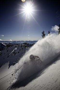 Skier Parker Cook at Snowbird, Utah by Adam Barker