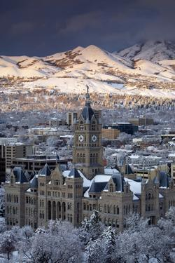 View of Downtown Salt Lake City, Utah with Wasatch Mountains by Adam Barker