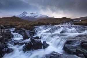 Allt Dearg Mòr River and Sgurr nan Gillean mountain, Glen Sligachan, Isle of Skye, Scotland. Autumn by Adam Burton