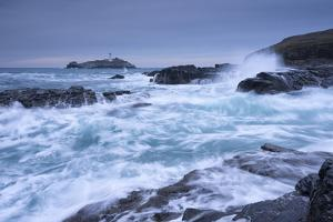 Crashing Atlantic Waves Near Godrevy Lighthouse, Cornwall, England. Winter (February) by Adam Burton