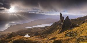 Dramatic Light on the Old Man of Storr, Isle of Skye, Scotland. Autumn (November) by Adam Burton