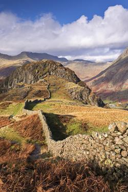 Drystone Wall on Lingmoor Fell in the Lake District, Cumbria, England. Autumn (November) by Adam Burton