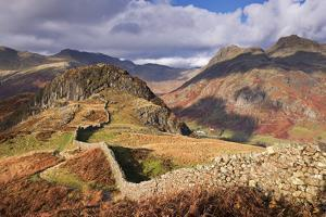 Drystone Wall on Lingmoor Fell Looks Towards Side Pike and Langdale Valley, Lake District, Cumbria by Adam Burton