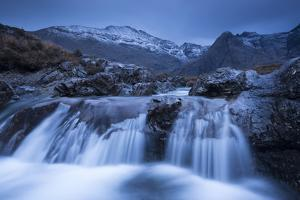 Fairy Pools Waterfalls at Glen Brittle, with the Snow Dusted Cuillin Mountains Beyond, Isle of Skye by Adam Burton