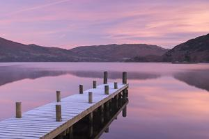 Frosty Wooden Jetty on Ullswater at Dawn, Lake District, Cumbria, England. Winter (November) by Adam Burton
