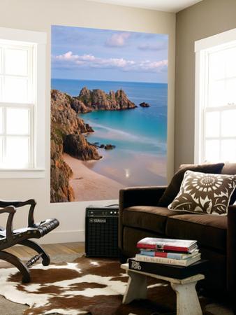 Pednvounder Beach and Logan Rock from the Clifftops Near Treen, Porthcurno, Cornwall by Adam Burton
