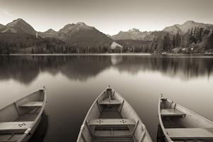 Rowing Boats and Mountains Beneath a Twilight Sky, Strbske Pleso Lake in the High Tatras, Slovakia by Adam Burton