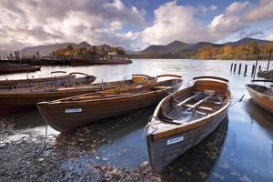 Rowing Boats on Derwent Water at Keswick, Lake District, Cumbria, England. Autumn by Adam Burton