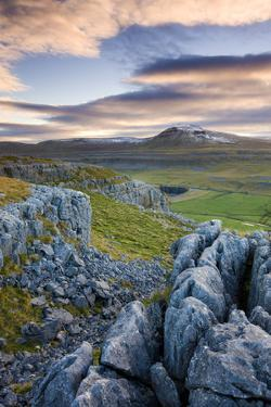 Snow Capped Ingleborough from Limestone Pavements on Twistleton Scar, Yorkshire Dales National Park by Adam Burton