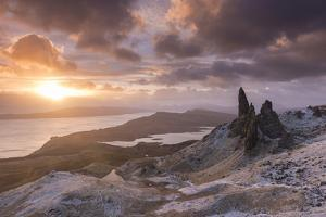 Spectacular Sunrise over the Old Man of Storr, Isle of Skye, Scotland. Winter (December) by Adam Burton