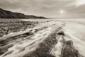 Stormy Evening at Kilve Beach on the Somerset Coast, Somerset, England. Winter (January) by Adam Burton
