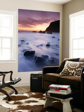 Twilight on the Beach at Duckpool on the North Cornish Coastline, Cornwall, England. Spring by Adam Burton