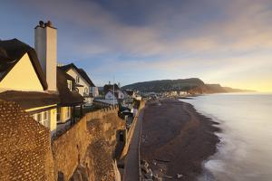 View of Houses Overlooking Sidmouth Seafront, Sidmouth, Devon, England. Winter by Adam Burton