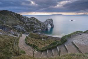 Winding Coastpath Steps Leading Down to Durdle Door on the Jurassic Coast, Dorset, England by Adam Burton