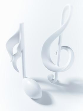 Close up of Semiquaver and Treble Clef Musical Notes on White Background by Adam Gault