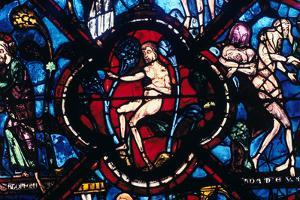 Adam in Eden, Stained Glass, Chartres Cathedral, France, 1205-1215