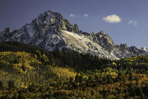 Autumn, aspen trees and Sneffels Range, Uncompahgre National Forest, Colorado by Adam Jones