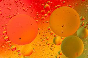 Close-up pattern of bubbles in oil and water mixture. by Adam Jones