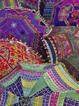 Colorful Umbrella Fabrics, Pushkar Fair, India by Adam Jones