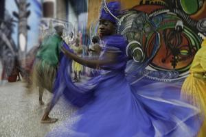 Cuban Dancer in Motion, Callejon De Hamel, Cuba by Adam Jones