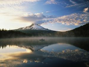 Fisherman, Trillium Lake, Mt Hood National Forest, Mt Hood Wilderness Area, Oregon, USA by Adam Jones