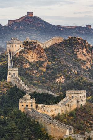 Great Wall of China and Jinshanling Mountains at sunrise, Jinshanling, China