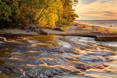 Hurricane River Flowing into Lake Superior at Sunset, Upper Peninsula of Michigan by Adam Jones