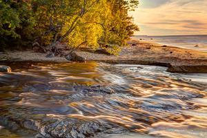 Hurricane River Flowing into Lake Superior at Sunset, Upper Peninsula of Michigan by Adam Jones