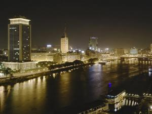 Night View of the Nile River, Cairo, Egypt by Adam Jones