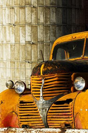 Red barn and yellow abandoned truck, Palouse farming region of Eastern Washington State by Adam Jones