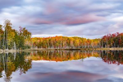 Red Jack Lake and sunrise reflection, Alger County, Michigan. by Adam Jones