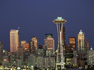 Seattle Skyline at Night, Washington, USA by Adam Jones