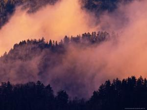 Sunset Fog in Valley, Morton Overlook, Great Smoky Mountains National Park, Tennessee, USA by Adam Jones