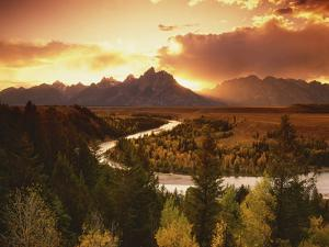 Teton Range at Sunset, Grand Teton National Park, Wyoming, USA by Adam Jones