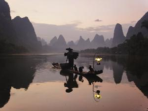 Traditional Chinese Fisherman with Cormorants, Li River, Guilin, China by Adam Jones