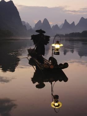 Traditional Chinese Fisherman with Cormorants, Li River, Guilin, China by Adam Jones