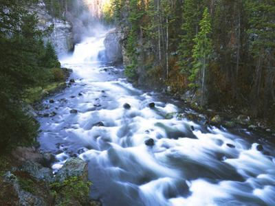 View of Firehole Falls and Firehole River, Yellowstone National Park, Wyoming, USA by Adam Jones