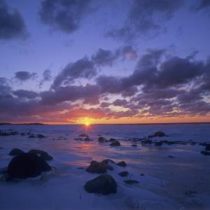 Winter Sunset over Lake Michigan, Cat Head Point, Leelanau State Park, Michigan, USA by Adam Jones