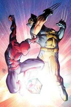 Astonishing Spider-Man & Wolverine No.3 Cover: Spider-Man and Wolverine Fighting by Adam Kubert