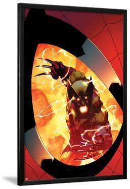 Astonishing Spider-Man & Wolverine No.6 Cover: Wolverine Charging, Seen in a Reflection by Adam Kubert