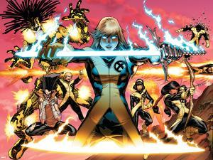 New Mutants No.1 Cover: Magik, Moonstar, Karma, Magma, Sunspot, Warlock and Legion by Adam Kubert