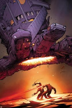 X-Men: Schism No.5 Cover: Wolverine and Cyclops Fighting with Sentinel Overhead by Adam Kubert