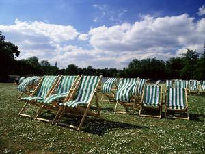 Deckchairs in Regents Park, London, England, United Kingdom by Adam Swaine