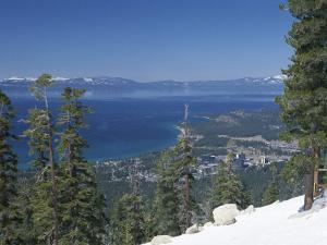 Lake Tahoe and Town on California and Nevada State Line, USA by Adam Swaine