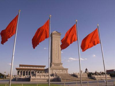 Mao Tse-Tung Memorial and Monument to the People's Heroes, Tiananmen Square, Beijing, China