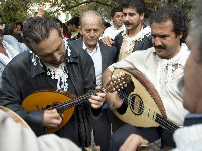 Musicians Attending a Village Wedding, Anogia, Crete, Greek Islands, Greece