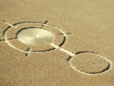 Aerial View of Crop Circles in a Wheat Field, Wiltshire, England, United Kingdom by Adam Woolfitt