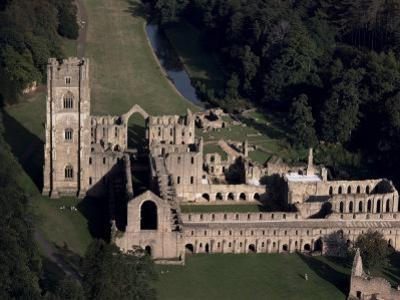Aerial View of Fountains Abbey, Unesco World Heritage Site, Yorkshire, England by Adam Woolfitt