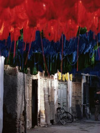 Dyed Wool, Marrakesh, Morocco, North Africa, Africa by Adam Woolfitt