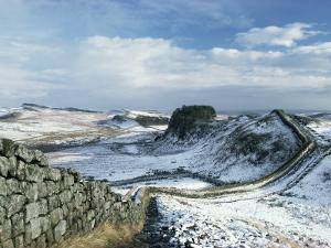 Hadrian's Wall, Unesco World Heritage Site, in Snowy Landscape, Northumberland, England by Adam Woolfitt